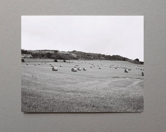 Hay Bales In Scottish Field Nature Photography Rural Landscape Black and White Photography Rustic Country Home Decor Rustic Photography Gray
