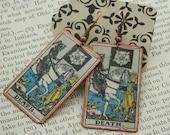 Tarot earrings tarot jewelry Death mixed media jewelry supernatural jewelry