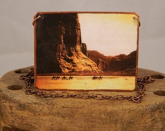 Navajo necklace Canyon De Chelly Edward S Curtis mixed media jewelry