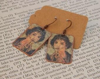 Sappho earrings Lesbian jewelry Greek history mixed media jewelry