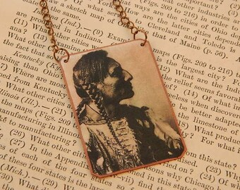 Native American inspired necklace or pendant mixed media jewelry