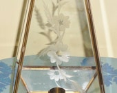 Footed Toed Glass & Brass Acid Etched Floral Flower Leaf Candle Holder Stand Display