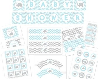 BABY SHOWER BLUE elephant party package