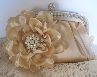 Beige Champagne Crystal Frame Satin Clutch with Gorgeous Handmade Satin Champagne Flower with a Pearl and Rhinestone Brooch Accent