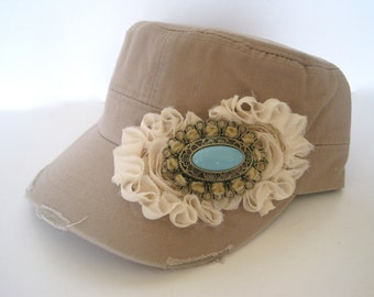 Khaki Cadet Military Distressed  Army Hat with Ivory Chiffon Flowers and Gorgeous Turquoise Pendant Accent