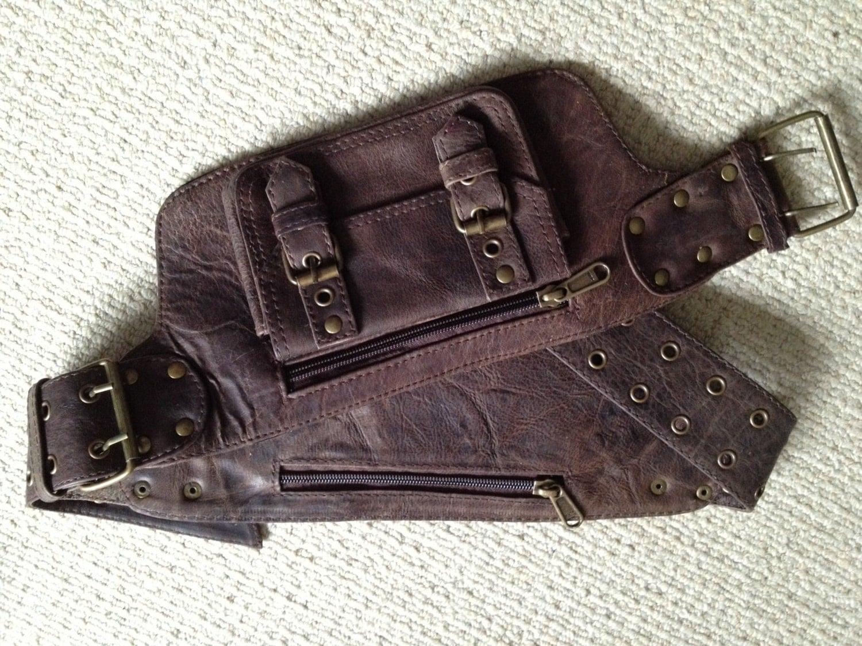 aged brown leather utility belt pocket belt pack