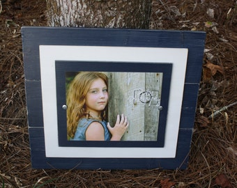 Distressed Frames, 8x10 Rustic Wood Picture Frame, Navy Blue Frame, Blue 8x10, Perfect Gift