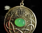 Gaia Shield Pendant with Gem Quality Chrysoprase and Goddess on the Front in Celtic Nouveau Styling and A Tree of Life Carving on Reverse