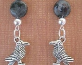 Ravens At Night Gemstone and Raven Charm Earrings Genuine Labradoite and Pewter Bird Jewelry