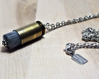 Gemstone Bullet Necklace - Labradorite - Pendant