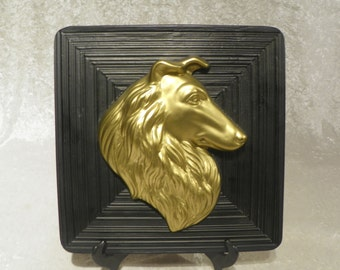 Collie Dog Head Wall Plaque Miller Studio 1950's Eames Era Wall Decor Metallic Gold on Black