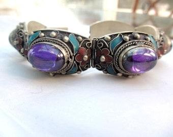 Amethyst Gemstone Bracelet, Enamel, Silver, Chinese Vintage Jewelry, WINTER SALE