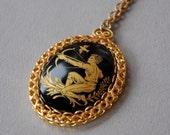 Vintage Sagittarius Zodiac Necklace Cameo Pendant Archer Hunger Games Black Gold Tone Filigree 1960's // Vintage Costume Jewelry