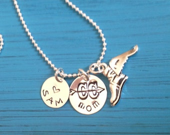 Cross Country Mom.  Runner Necklace. Distance Runner. Custom. X Country.  Foot with wing Charm