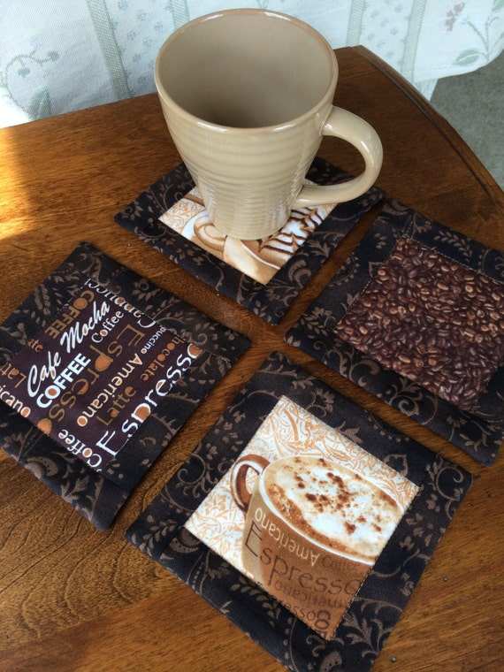 Log Cabin Quilted Coffee Theme Coasters Set Of 4 With A Fabric