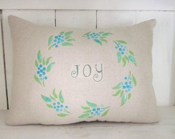 Decorative pillow, word decor, joy,  farmhouse decor, accent pillow, throw pillow, burlap pillow, wreath pillow