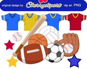 Sports Digital Clipart for Card Design, Scrapbooking, and Web Design -Personal and Commercial Use