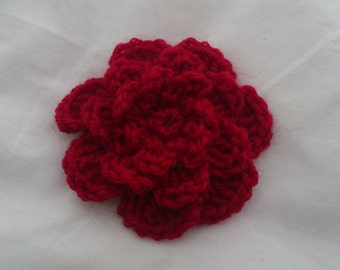 French Rose Brooch, Crochet Brooch, Crochet Flower Brooch,  Crochet Red Flower Brooch