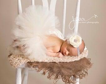 Ivory Couture Tutu and Matching Couture Flower Headband (SET) - NEWBORN size - Beautiful Photo Prop or Keepsake Photo Prop