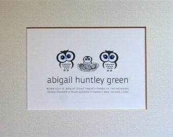 Custom New Baby Owl Wall Art Print / Nursery Art / Birth Announcement / Owls / Nest