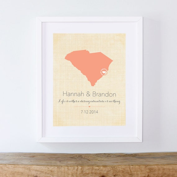 South Carolina Wedding Print - Featured in Charleston Weddings Magazine - Your Choice of State, Colors, Quote