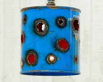 Blue Bucket LIghts, Funky Hanging LIghts, Pendant LIght, Industrial Light, Handmade Lighting, Rustic LIghting, Unique Hanging LIght, Vintage