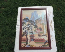 HAND STITCHED Tapestry Picture - Chinese Scene.(  Ready to Ship )