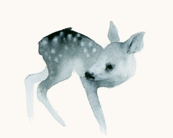 Deer Print Watercolor Fine Art Print