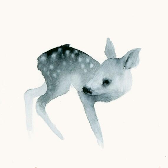 Deer Print Watercolor Fine Art Print