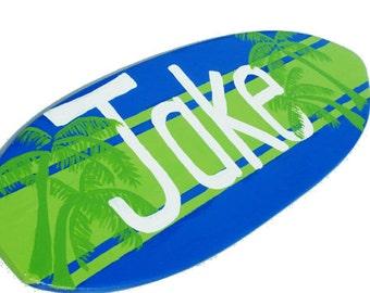 Beach Nursery Sign, Custom Surf Board Decor, 18 inch Boys Surfboard Wall Art, Kids Surf Decor, Pesonalized Name Sign