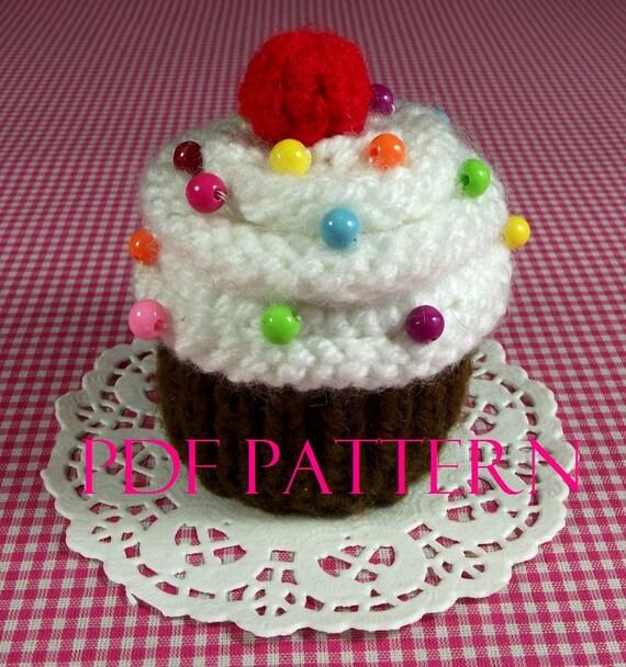 Cake Knitting Pattern Free Download : KNITTING PATTERN Cupcake dessert knit Ornament Toy Amigurumi