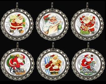 Personalized Santa Tree Ornaments Decorations Set of Six Kids Teen Tween Adult