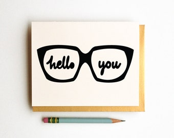 hello you glasses geek chic glasses card social stationery
