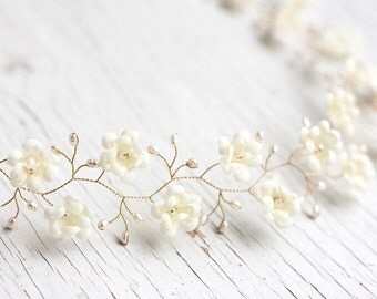 53_Pearl headband, Headband wedding, Ivory headband, Crown, Tiara, Bridal pearl headband, Floral hair accessories, Diadem flowers, Tiara.