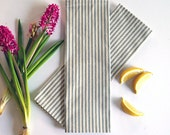 Large Gray French Ticking Stripe Cloth Napkins - Set of 4 - Eco Friendly - Fabric Napkins