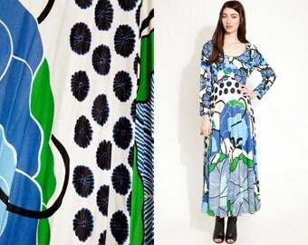 Vintage 70s PRINT BOHO Maxi Full Skirt Dress // Hippie