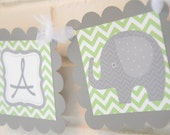 It's a Boy Elephant banner, Elephant baby shower, elephant banner, green and grey