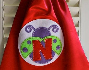 Ladybug Costume - PERSONALIZED RED Girls Ladybug Superhero Cape - Choose the Initial - Reversible - Superhero Party-Superhero Costume