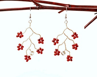 Red Blossom Branch Earrings, Silver Plated Copper Wire and Czech Glass Seed Beads