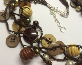 Wood Bead and Brown Button Necklace