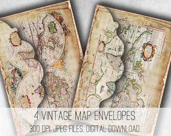Digital Collage Sheet Download - Vintage Maps Envelopes -  1035  - Digital Paper - Instant Download Printables