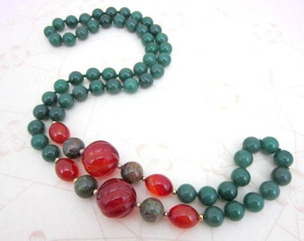 "CLEARANCE SALE long aventurine carved carnelian jasper and gold spacer necklace 32"" hand knotted - semi-precious stones"