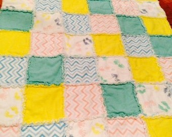 Sale Baby Rag Quilt made from Flannel Pink, Green, Yellow and Blue