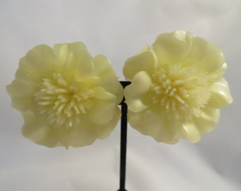 Large Vintage Yellow Flower Earrings