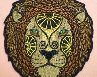 Large 5 1/2 by 5 Inch Embroidered Leo the Lion Astrology Sign Iron On Applique Patch, Lion, Astrology, Astrological Sign