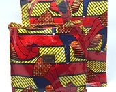 African Print Lunch Bag| Ankara Book Bag |  African Print Oil cloth Bag | Ankara Oil Cloth Bag | Lunch Bag | Shiny Gloss Finish | AFRICAN