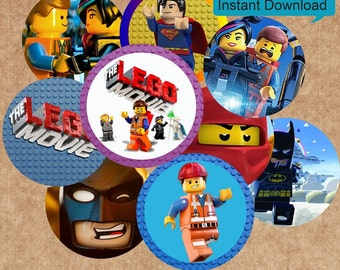 """30"""" Lego Movie - INSTANT DOWNLOADS -1inch Circles x 30 - Digital Collage Sheet -  1"""" Bottle Cap Images, Magnets"""