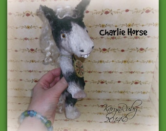 PDF EPattern  to make 9 inch 'Charlie Horse'    Vintage Style Viscose or Mohair Pinto by Artist KarynRuby