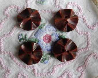"Vintage Buttons - 4 Burgundy Carved Buttons - Two Hole Buttons - 3/4"" Diameter"