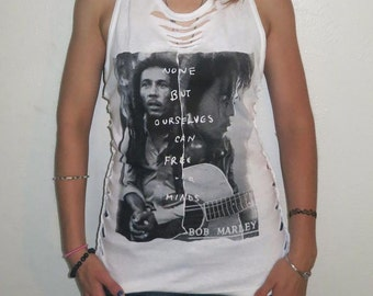 Bob Marley Shredded T shirt  - Braided OOAK S M Free Your Mind